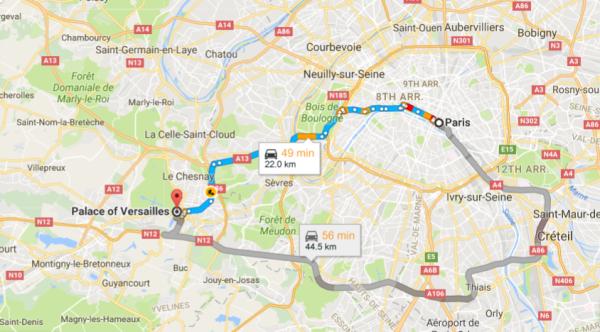 Distância entre Paris e Versailles (Google Maps)